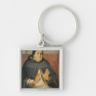 Portrait of St. Thomas Aquinas  c.1475 Silver-Colored Square Key Ring