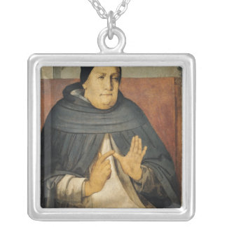 Portrait of St. Thomas Aquinas  c.1475 Silver Plated Necklace