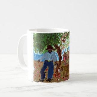 Portrait of the artist with dog mug