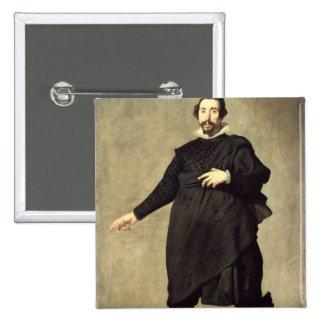 Portrait of the Buffoon Pablo de Valladolid 15 Cm Square Badge