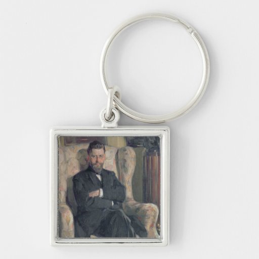 Portrait of the collector Alexei A. Bakhrush Keychain