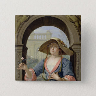 Portrait of the Mistress of the Artist M.C 15 Cm Square Badge