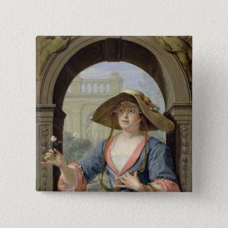 Portrait of the Mistress of the Artist M.C 15 Cm Square Badge