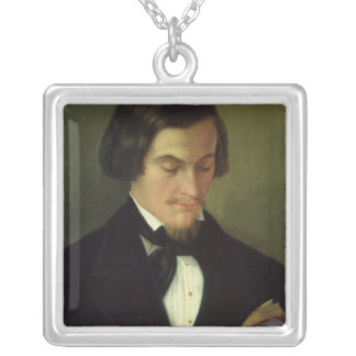 Portrait of the poet Heinrich Heine  1842 Silver Plated Necklace