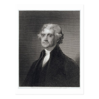 Portrait of Thomas Jefferson, engraved by Henry Br Postcard