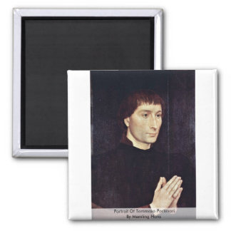 Portrait Of Tommaso Portinari By Memling Hans Square Magnet