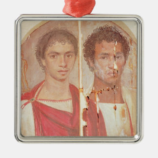 Portrait of two brothers Silver-Colored square decoration