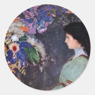 Portrait Of Violette Heymann By Odilon Redon Classic Round Sticker