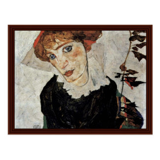 Portrait Of Wally By Schiele Egon Postcard
