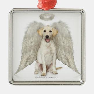 Portrait of white Labrador retriever wearing Metal Ornament