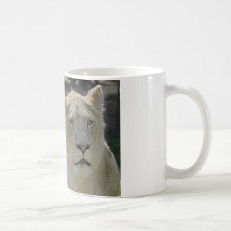 Portrait of white lioness mug