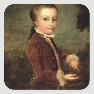 Portrait of Wolfgang Amadeus Mozart  aged Square Sticker