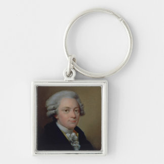 Portrait of Wolfgang Amadeus Mozart Silver-Colored Square Key Ring