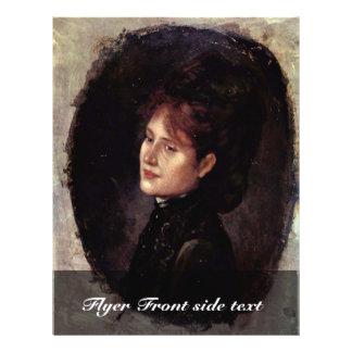 Portrait Of Woman Alexianu By Grigorescu Nicolae 21.5 Cm X 28 Cm Flyer