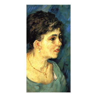 Portrait of Woman in Blue by Vincent van Gogh Customized Photo Card