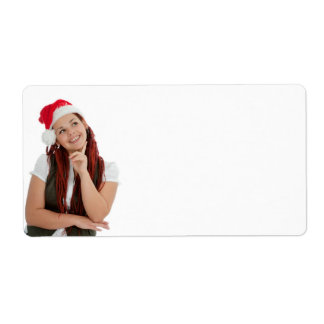 Portrait of young modern christmas girl. shipping label