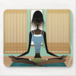 Portrait of young woman doing yoga mouse pad