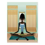 Portrait of young woman doing yoga postcard