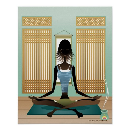 Portrait of young woman doing yoga poster