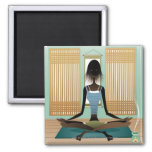 Portrait of young woman doing yoga square magnet