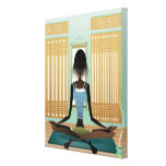 Portrait of young woman doing yoga stretched canvas prints