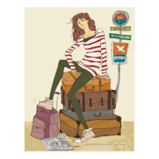 Portrait of young woman sitting on suitcase postcard