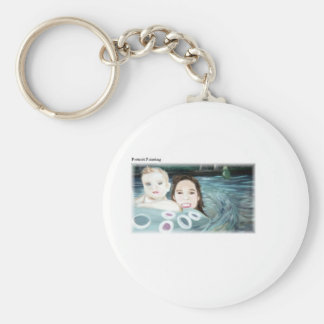Portrait Painting Basic Round Button Key Ring