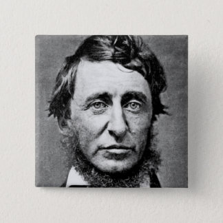 Portrait Photograph of Henry David Thoreau 15 Cm Square Badge