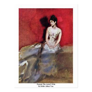 Portrait The Artist'S Wife By Keller Albert Von Postcard