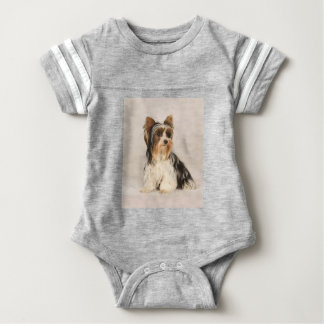 Portrait Yorkie Miss Mia Photo painting Baby Bodysuit