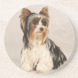 Portrait Yorkie Miss Mia Photo painting Coaster