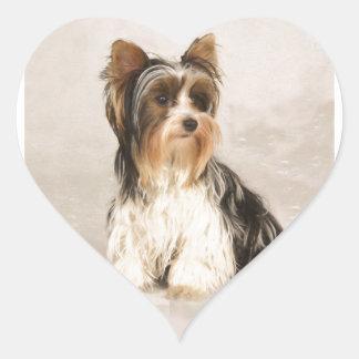 Portrait Yorkie Miss Mia Photo painting Heart Sticker