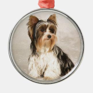 Portrait Yorkie Miss Mia Photo painting Metal Ornament