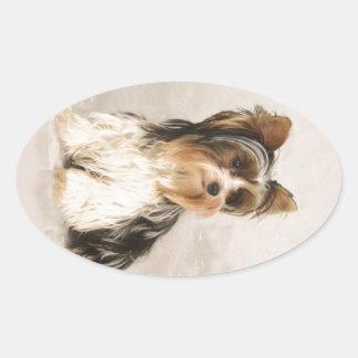 Portrait Yorkie Miss Mia Photo painting Oval Sticker