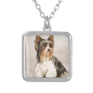 Portrait Yorkie Miss Mia Photo painting Silver Plated Necklace