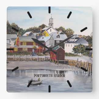 Portsmouth Harbor, New Hampshire Square Wall Clock