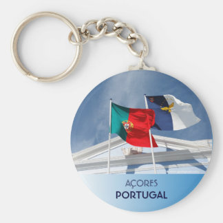 Portugal and Azores flags Basic Round Button Key Ring