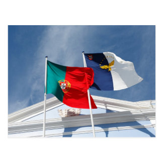 Portugal and Azores flags Postcard