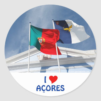 Portugal and Azores flags Round Sticker