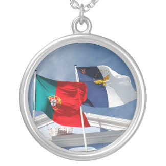 Portugal and Azores flags Silver Plated Necklace