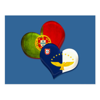 Portugal and Azores hearts Postcard