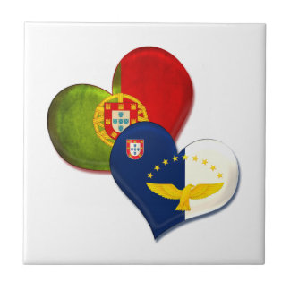 Portugal and Azores hearts Small Square Tile