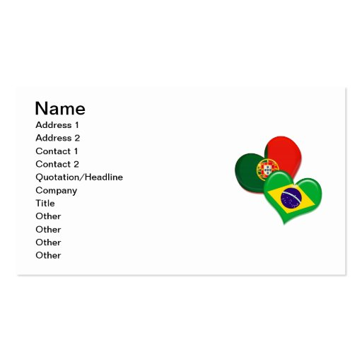 Portugal and Brazil hearts Business Card Templates