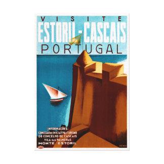 Portugal Estoril Vintage Travel Poster Restored Canvas Print