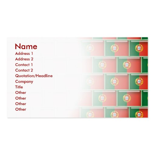 Portugal flag 3D pattern Business Cards