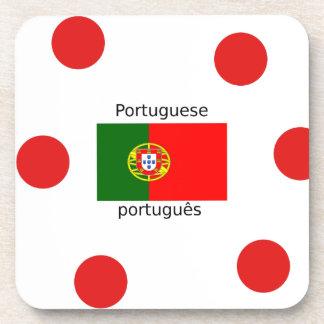 Portugal Flag And Portuguese Language Design Coaster