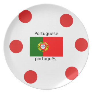 Portugal Flag And Portuguese Language Design Plate
