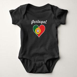 Portugal Flag Heart Baby Bodysuit