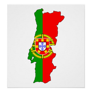 Portugal Flag Map full size Poster