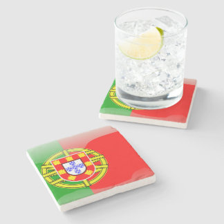 Portugal glossy flag stone beverage coaster